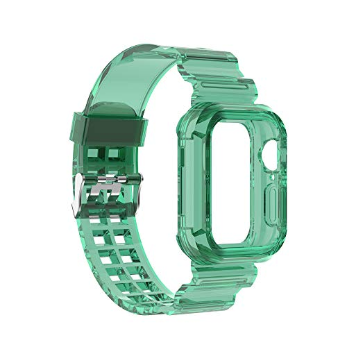 Chofit Compatible with Apple Watch Bands 38mm/40mm 42mm/44mm, Silicone Replacement Band Straps with Bumper case Compatible with Apple Watch SE iWatch Series 6 5 4 3 2 1 (Green, 38mm/40mm)