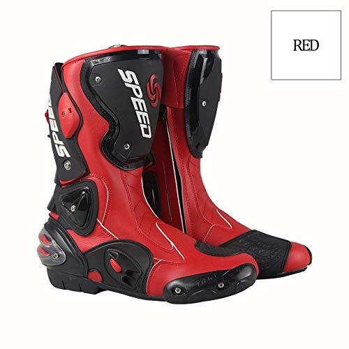 Acptxvh Motociclismo Botas Hombres largas de Alta Botas del Tobillo de protección Moto Motociclismo Riding pie de los Zapatos Guardia B1001,Rojo,7.5