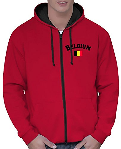 Coole-Fun-T-Shirts Belgien Sweatshirtjacke Varsity Jacke rot-schwarz, Gr.L