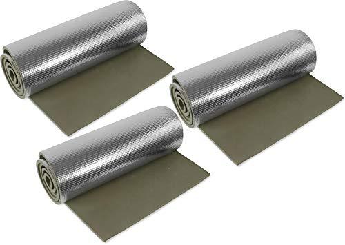 normani 1, 2, 3 oder 5 Ultraleichte Isomatten mit Aluminiumbeschichtung/Alu-Thermomatte Isomatte Farbe Oliv / 3 Stück