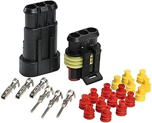 HELLA 8KW 744 807-801 SUPERSEAL-Steckverbindungen, Set, B 05, je 4 Stiftkontakte 1,0 – 1,5 mm², Buchsenkontakte 1,0 – 1,5 mm², je 6 Einzelleiterdichtungen, 4 Blindstopfen, 3-polig, 26 Stück