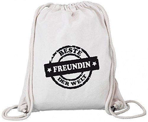 Valentinstag Premium Bio Baumwoll Turnbeutel Rucksack Stanley Stella Beste Freundin der Welt Stempel, Größe: onesize,Natural