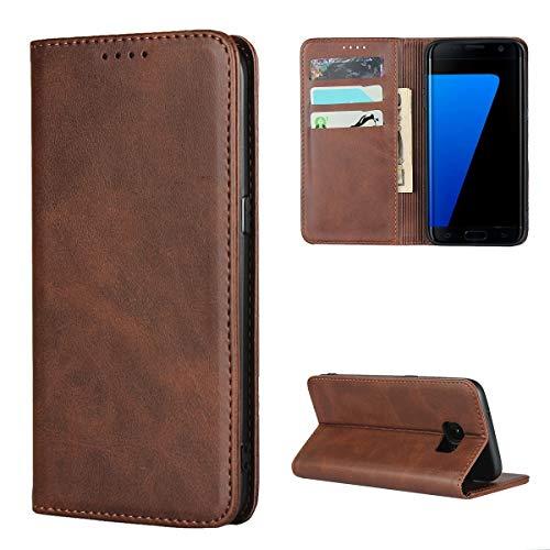 Copmob Funda Samsung Galaxy S7 Edge,Premium Flip Billetera Funda de Cuero,[3 Ranuras][Función de Soporte][Cierre magnético],Carcasa Case para Samsung Galaxy S7 Edge - Marron Oscuro