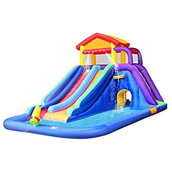 BESTPARTY Inflatable Kids Water Slide Pool Bounce House for Toddler Bouncy Splash Park for Outdoor Fun with Blower
