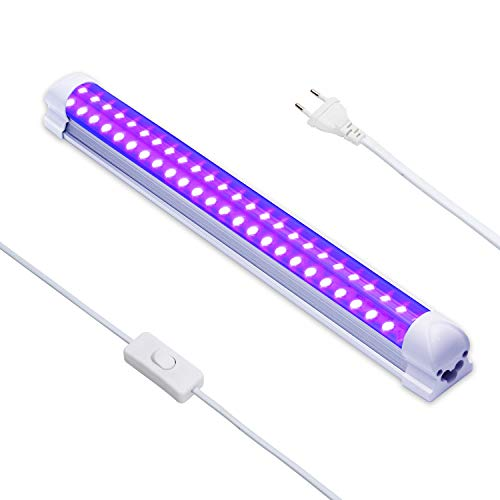 Luz Negra UV,Eleganted 10W Luz 220V UV Led Tubo con EU Enchufe para Halloween Fiestas Boda Iluminación