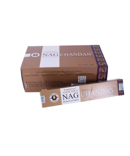 Varillas de incienso Golden Nag Chandan 180g aroma a madera de sándalo 12 cajitas fragancia...