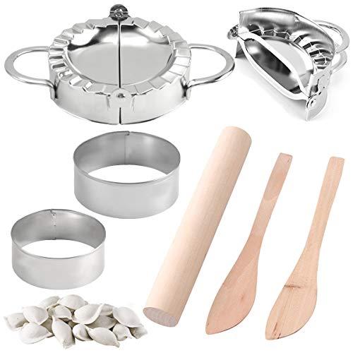 7 szt. pierogów, przenośna maszyna do pieczenia ciast wonton forma do pierogów klasy spożywczej, pierogów ze stali nierdzewnej, 2 rozmiary narzędzia do pierogów forma ravioli, chiński domowy pierogów maszyna do robienia skóry