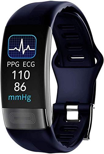 Pulsera Inteligente Banda Inteligente Reloj Monitor de Ritmo Cardíaco Pulsera PPG Presión Arterial Impermeable Pulsera Fácil de Usar Azul-Azul