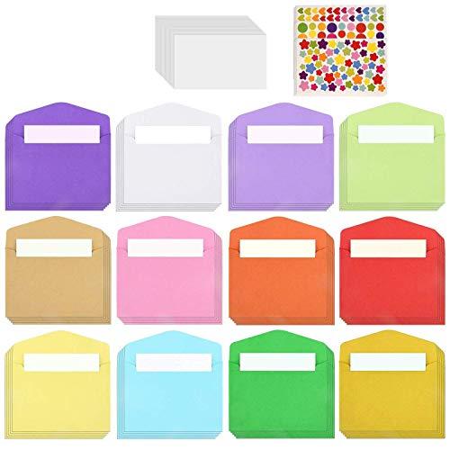 Globaldream Mini kuvert, 72 st minikuvert, 100 st vita tomma kort och 3 ark klistermärken för jul alla hjärtans dag present sött kuvert för gör-det-själv bröllop födelsedagsfest