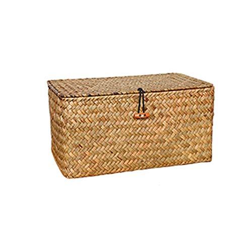 Electric oven Cesta de almacenamiento con tapa rectangular tejida a mano Laver y hogar de bambú para sala de estar o escritorio