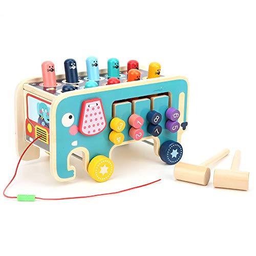 Juguetes de martillo de madera, juguetes de martillo de madera con 2 mazos, banco de golpes, juguetes Montessori para niños pequeños que aprenden habilidades motoras finas