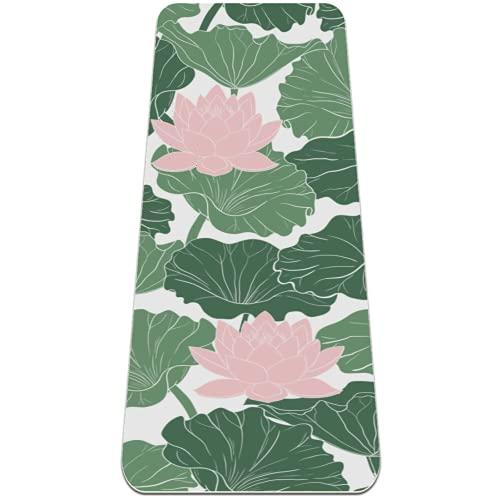Alfombrilla de yoga con hojas verdes de loto rosa, respetuosa con el medio ambiente, antideslizante, para yoga, pilates y ejercicios de piso de 182 x 81 cm