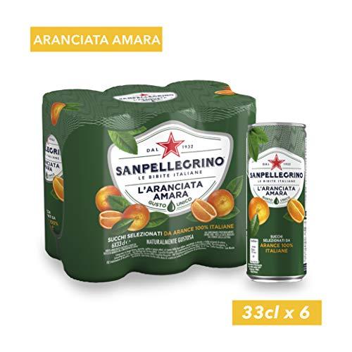 SANPELLEGRINO Bibite Gassate, L'ARANCIATA AMARA Lattina 33cl x 6