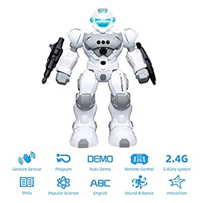 MDGZY RC Robot for Kids,Intelligent Programmable,2.4GHz Remote Control Robot Toy,Gesture Sensing Robot Kit,Walking,Shooting,Dancing,Singing,Educational Toys Toy Gift for Boys Girls