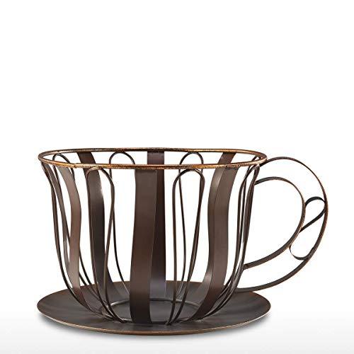 Escultura de metal marrón café Pod contenedor Espresso Pod Holder taza de café cesta decoración estatua