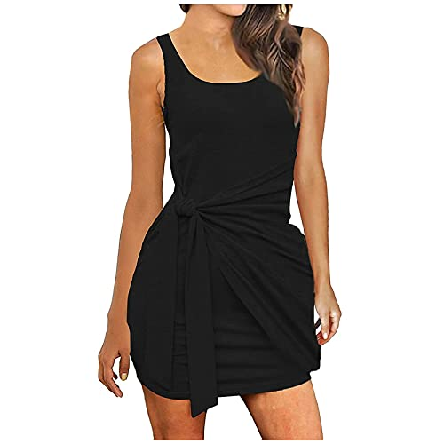 FQZWONG Women's Sexy Bandage Ribbed Dress Slim Fit Sleeveless Pleated Bow Belt Skirt for Dating Holiday Daily(Black,5X-Large)