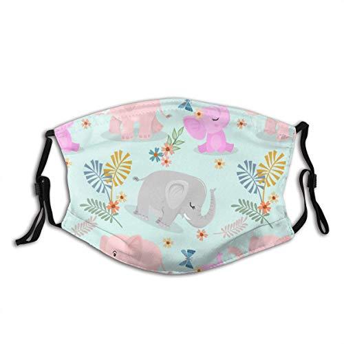 Schattige olifant familie en vlinder textiel behang. Mond Mouw Met Filter Unisex