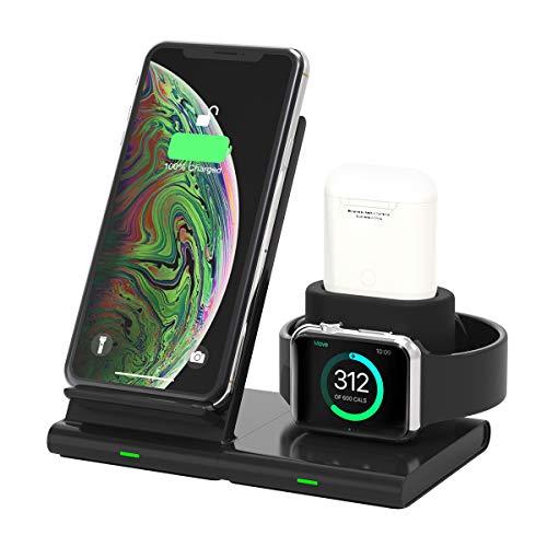 Yaature 3 in 1 Wireless Charger, Kabelloses Ladegerät Induktive Ladestation für Apple Watch 5/4/3/2/1 & Airpods, Abnehmbare und Magnetische Ladeständer für iPhone 11/11 Pro/XR/XS/X/8, Samsung usw.