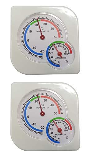 O&W Security 2 termometri con igrometro analogico temperatura e umidità per interni ed esterni, 7,5 x 7,5 cm, indicatore di temperatura da -20 a +50 °C, colore: bianco