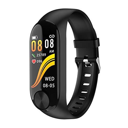 LYB Fitness Activity - Reloj impermeable con temperatura y frecuencia cardíaca, presión arterial, pulsera inteligente para mujeres, hombres, niños (color negro)