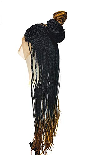 18 Inch Long Box Braid Lace Front Wig Braids Micro Million African Braided Wigs for Women and Girls (1BTB)