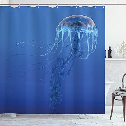 ABAKUHAUS Qualle Duschvorhang, Blauer Ozean Tier, mit 12 Ringe Set Wasserdicht Stielvoll Modern Farbfest & Schimmel Resistent, 175x180 cm, Blau