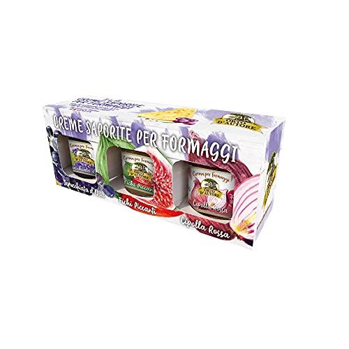 ORTO D'AUTORE Confettura Senapata Tris Blu 3x100 gr, Creme Senapate per Formaggi Made in Italy, Marmellate per Formaggi al Gusto di Uva, Fichi e Cipolla Rossa, Ortaggi Italiani, Ideale anche per Carni