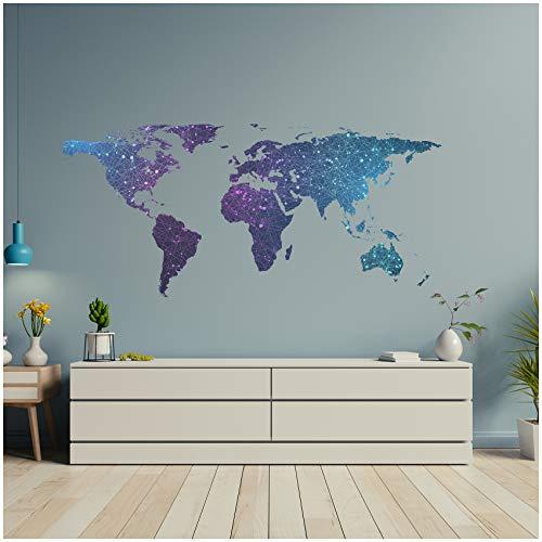 Graz Design - Adesivo da parete, per soggiorno, camera da letto, motivo mappamondo, Multicolore