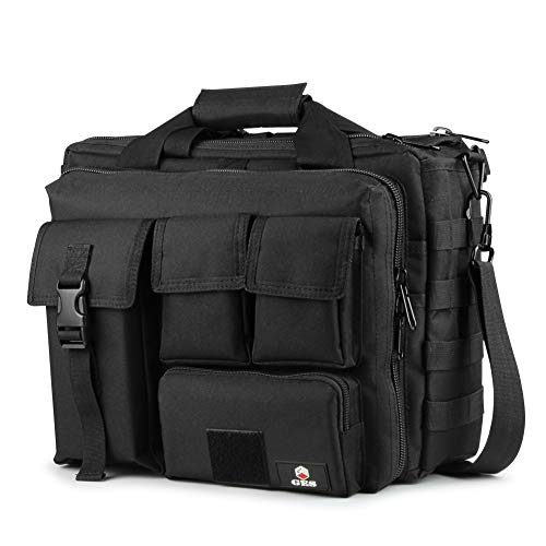 GES 17.3 inch Laptop Bag, Multi-funtion Men's Outdoor Tactical Nylon Metal Buckle Shoulder Laptop Messenger Bag,Briefcase Handbags for Camera/Tablet/Notebook-Black-17.3'