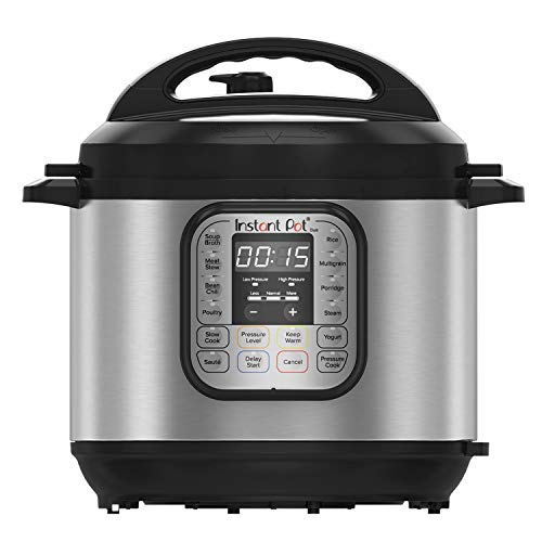 Instant Pot DUO60 6 Qt 7-in-1 Multi-Use Programmable Pressure Cooker, Slow Cooker, Rice Cooker, Steamer, Sauté, Yogurt Maker and Warmer (IP-DUO60), Stainless Steel/Black