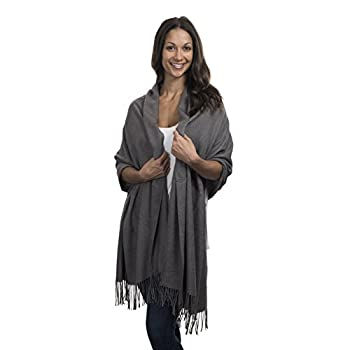 Cashmere & Class Large Soft Cashmere Scarf Wrap – Womens Winter Shawl + Gift Box  grey