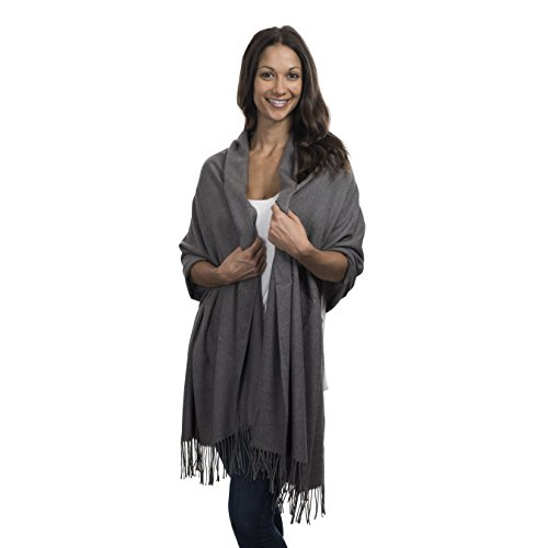 Cashmere & Class Large Soft Cashmere Scarf Wrap – Womens Winter Shawl + Gift Box (grey)