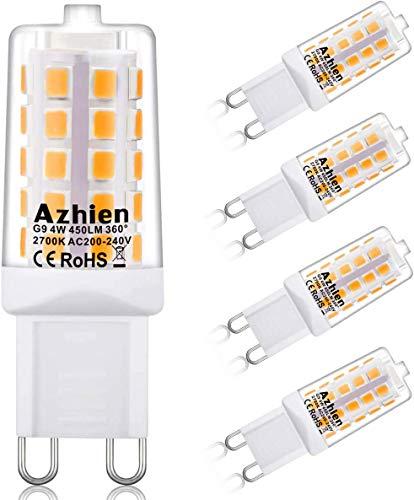 Azhien G9 Lampade LED Dimmerabile 4W Bianco Caldo 2700K, Equivalente a 28W 33W 40W G9 Luce Alogena, 450Lm 200-240V CA, Senza Flicker, Angolo a 360 Gradi, CRI> 82, Lampada G9, Confezione da 5