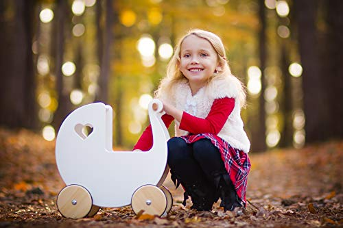 Moover MOOV-w-025 Wooden Doll's Pram, White, 42x25x44