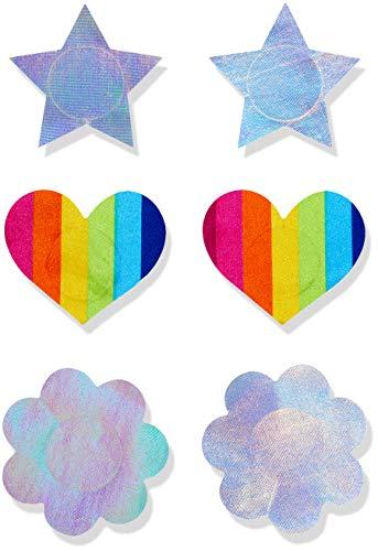 Iris & Lilly Damen Klebe-BH, 9er-Pack, Mehrfarbig (Regenbogen/Silber), One Size, Label: One Size