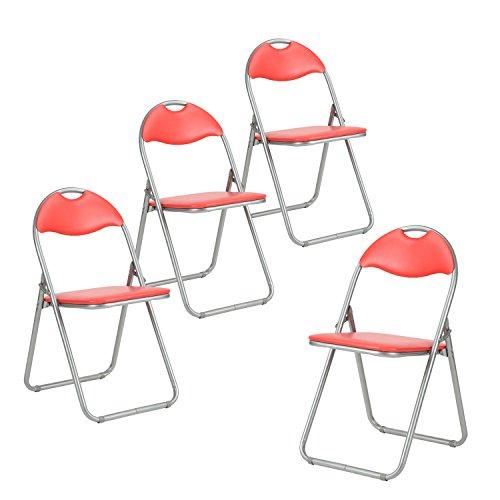 iHouse Metall-Klappstühle, gepolsterte Sitzfläche und Rückenlehne, Schreibtischstuhl für Zuhause, Büro, Party, Besprechungszimmer, Rot/Blau rot