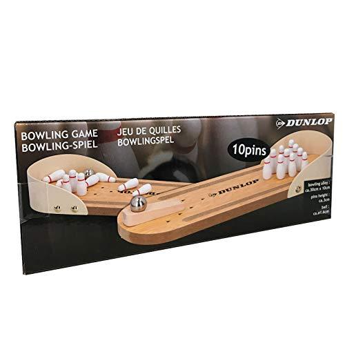 Dunlop - Bowling-Spielaus Holz| Miniatur Bowlingspiel | Mini-Bowling-Spiel | 30x10cm |13teilig inkl. Pins + Kugel |Bürospiel für den Schreibtisch | Spielfür Kinder & Erwachsene ab 3 Jahren