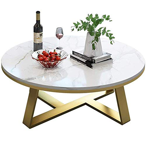 GRXXX Living Room Table Furniture Round Coffee Table High-Grade Furniture Elegant Marble Top Finish Gold Base,Couch Bedside Side Table Laptop Desk,80x40 cm