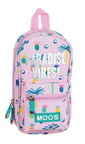 Safta 412022747 Plumier mochila 4 estuches llenos, 33 piezas, escolar Moos, Rosa (Paradise)