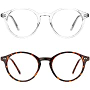 TIJN Blue Light Blocking Glasses Men Women Vintage Thick Round Rim Frame Eyeglasses ((01)-(2pack)Transparent&Tortoise)