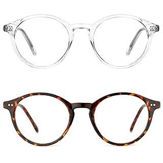 TIJN Blue Light Blocking Glasses Men Women Vintage Thick Round Rim Frame Eyeglasses ((01)-(2pack) Transparent&Tortoise) (B085PRXW78) | Amazon price tracker / tracking, Amazon price history charts, Amazon price watches, Amazon price drop alerts