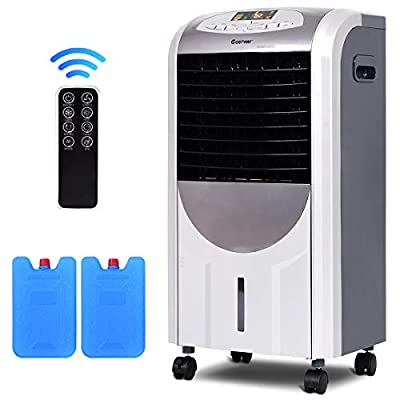 COSTWAY 5 in 1 Compact Air Cooler | Heater | Humidifier | Fan | Purifier with Fan Filter, Humidifier, Ice Crystal Box, LED Panel, 8 Hours Timer, 3 Speeds, 7L Water Tank, 4 Wheels, Remote Control
