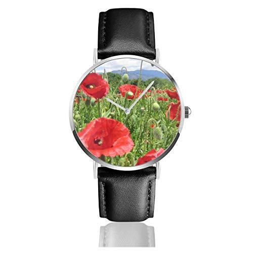 Download Mohnblumen Field Green Horizon Sky Ultrawide Monitor Klassische Casual Quarzuhr Edelstahl Lederband Uhren