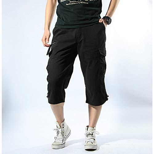 GenGXINLIN Short pour homme avec poches, short d'été gris avec rayures noires respirantes avec poche zippée pour le fitness, la course à pied, la plage et la plage, 2 XL