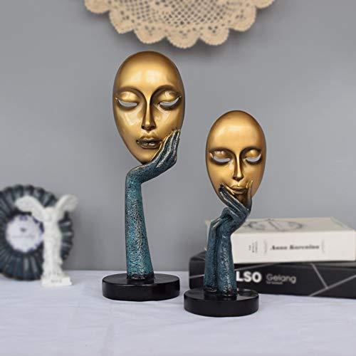 WANGXINQUAN Figuras abstractas máscara adornos decoración del hogar sala de estar TV gabinete vino gabinete personalizado artesanía 2 piezas