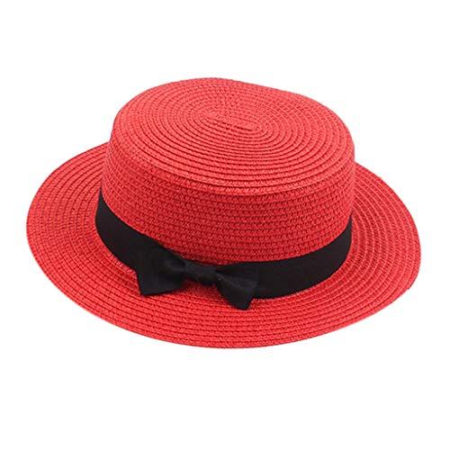 SM SunniMix Sombrero de bombín para Mujer Sombrero de bombín de diseño clásico con Pajarita - Rojo