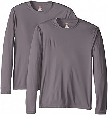 Hanes Men's Long Sleeve Cool Dri T-Shirt UPF 50+, Medium, 2 Pack ,Graphite