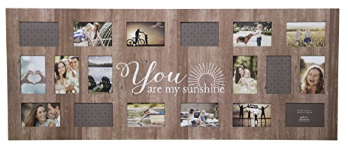 GALLERY SOLUTIONS Rustic 18 Opening Distressed You Are My Sunshine Collage Frame