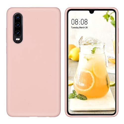 DUEDUE Huawei P30 Hülle, Huawei P30 Handyhülle Huawei P30 Schutzhülle Slim dünne case Liquid Silikon Gel Matte Hülle Kratzfest Silikon Case Cover Hülle für Huawei P30 Rose Pink