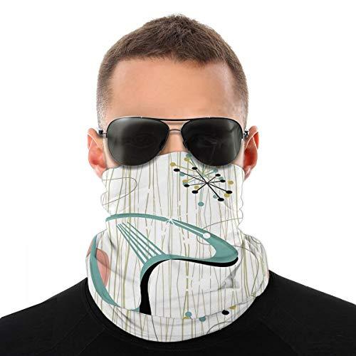 Wuyouhua Nasculi Retro Eames-Era Atomic Inspired Staubdichtes Winddichtes Gesicht Bandana Protection Variety Kopftuch Unisex